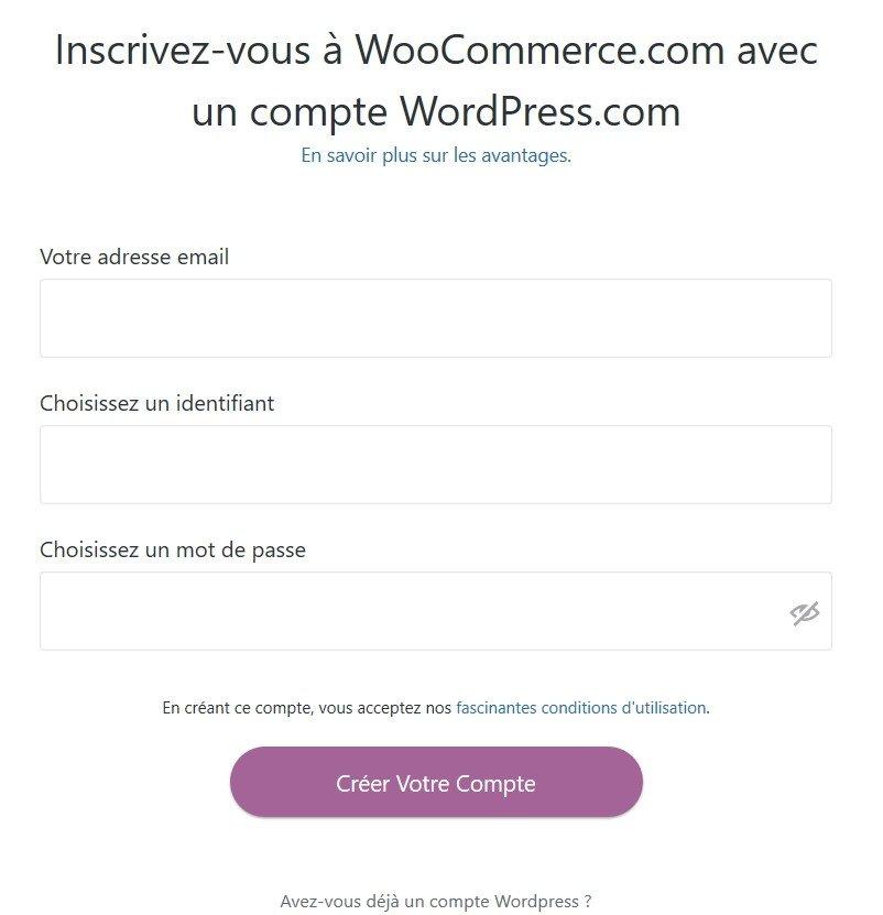 Création d'un compte Woocommerce