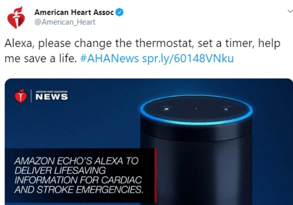 American Heart Association fournit des informations vitales via Amazon Echo