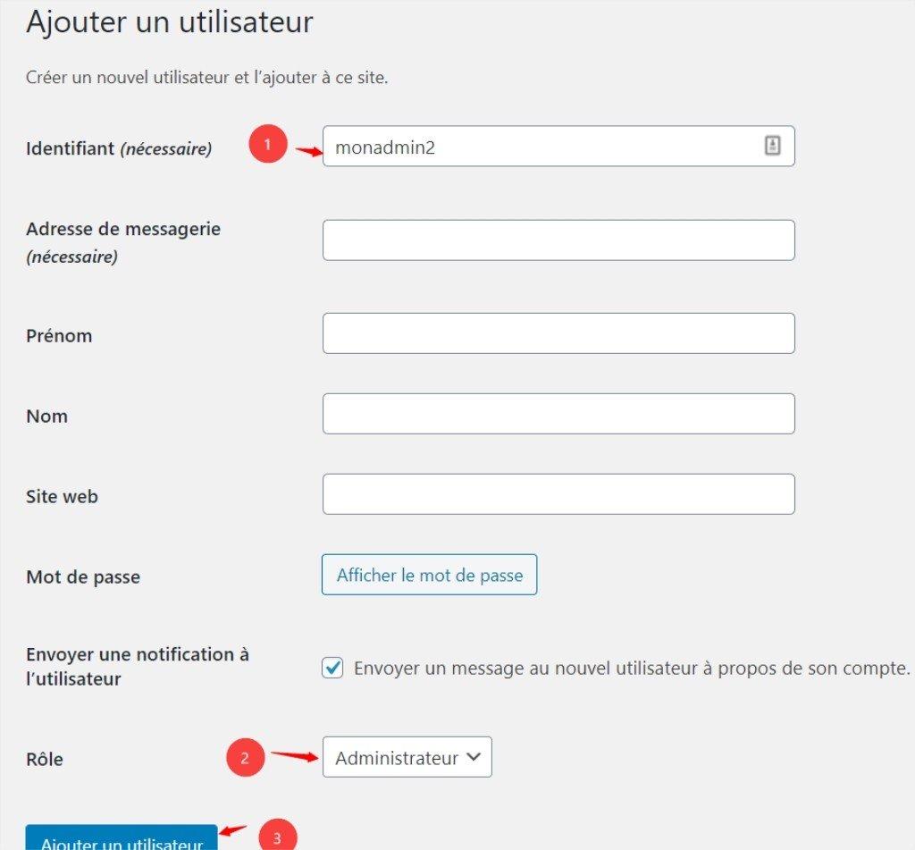 Ajouter un nouvel administrateur dans WordPress