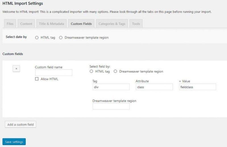 Configuration de l'extension html import. Étape 4 : Champs personnalisés