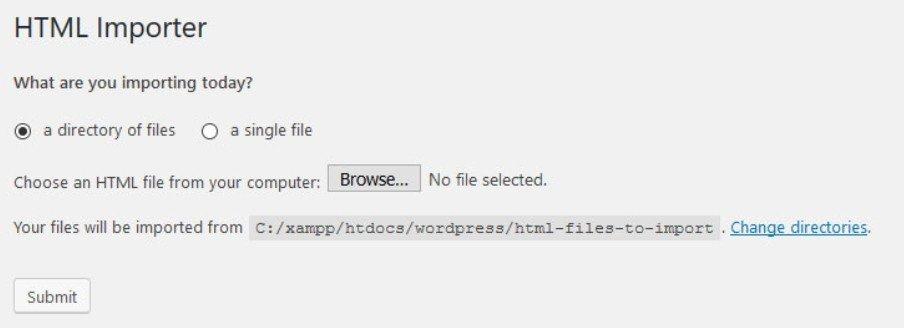 Cliquez sur le bouton importer pour lancer l'importation du site HTML