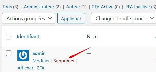Supprimer le compte admin par défaut dans WordPress