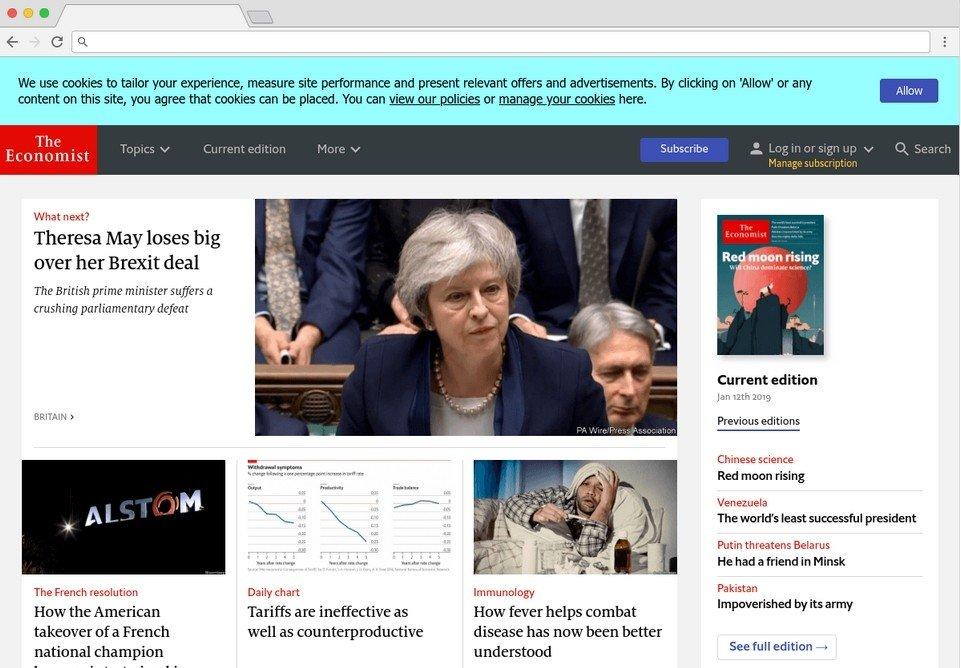Le site the Economist utilise aussi Headless CMS