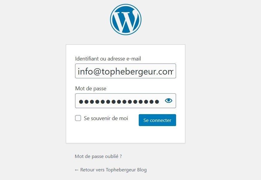 Utilisez votre email pour se connecter à votre Site WordPress