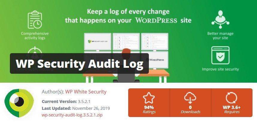 Extension WordPress : Wp Security Audit Log