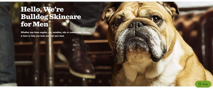 Page « À propos » de Bulldog Skincare