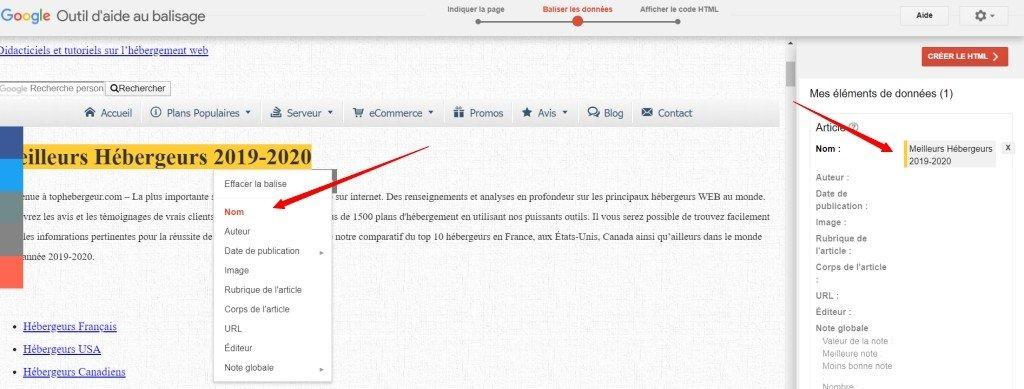 Création d'un balisage de Schema avec l'outil Google Étape 3