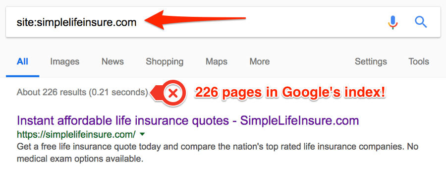 exemple de google index
