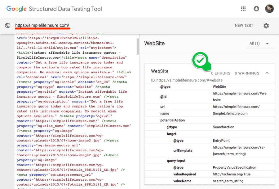 Outil test de données structurées