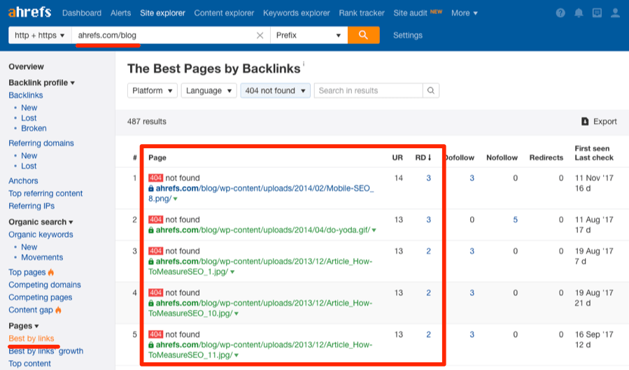 Pages brisées best by links redirigées vers 404