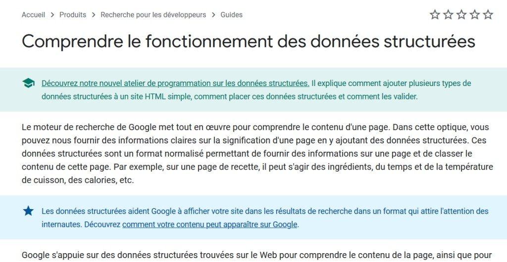 Les directives de Google sur les données structurées