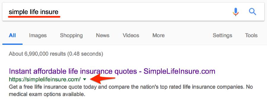 Recherche de classement sur Google