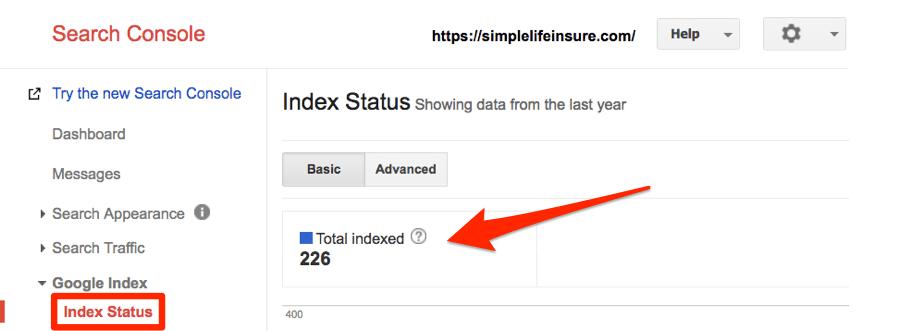 Statut de l'index dans Google