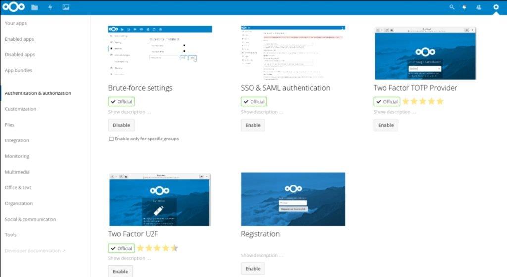 Catégorie des Applications Nextcloud