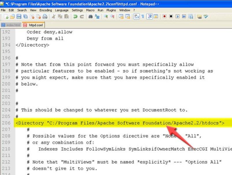 Changez le répertoire web Apache Avant