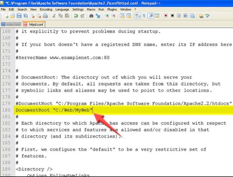 Changez le répertoire web Apache Après