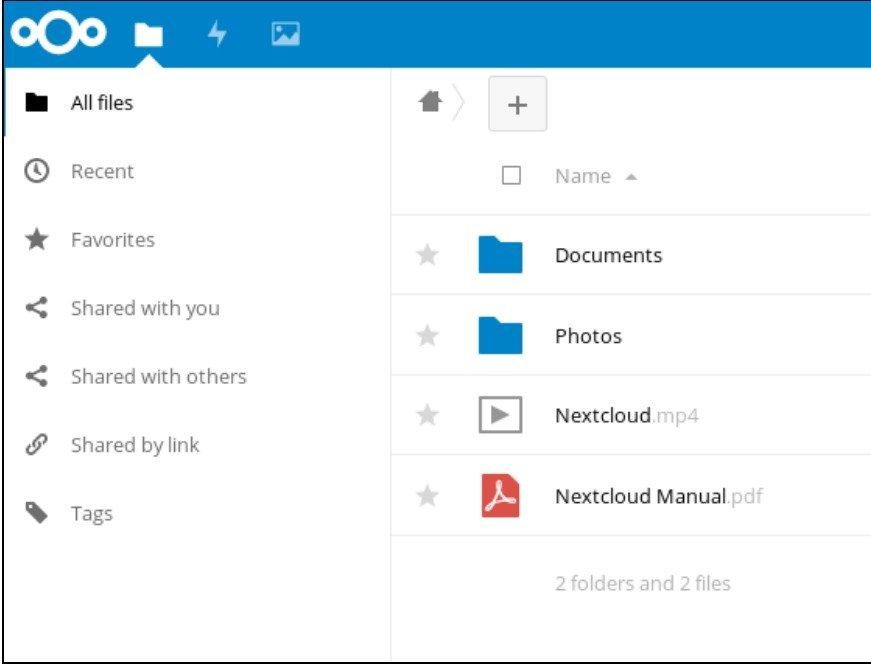 Écran Fichiers Nextcloud