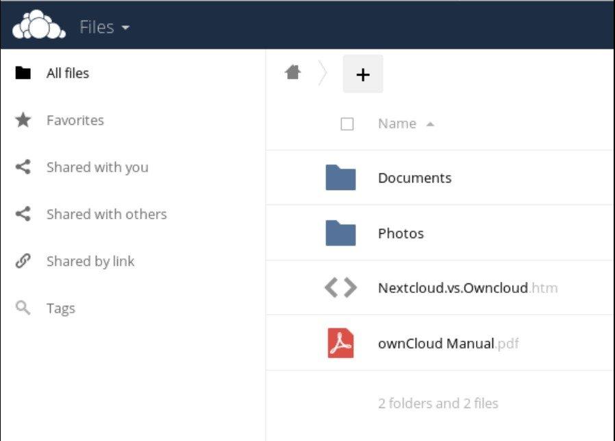 Écran des fichiers ownCloud