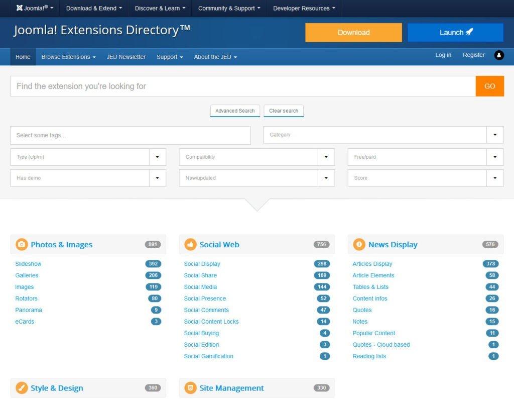 Répertoire des extensions Joomla