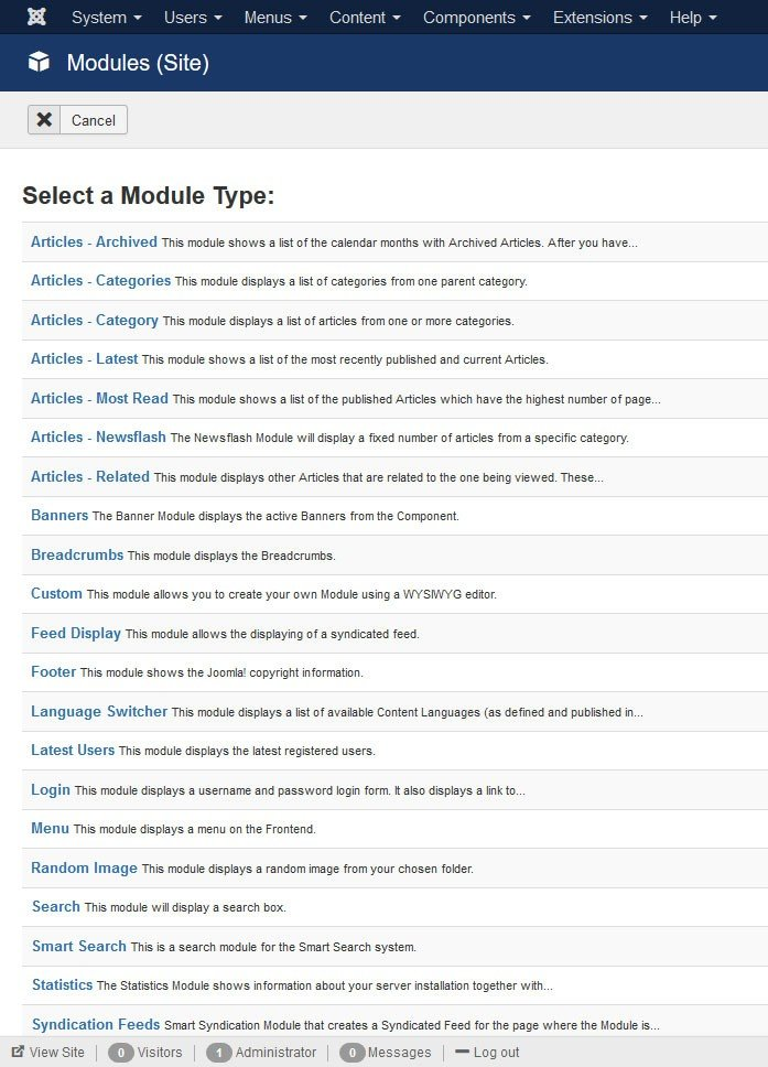 Modules supplémentaires Joomla