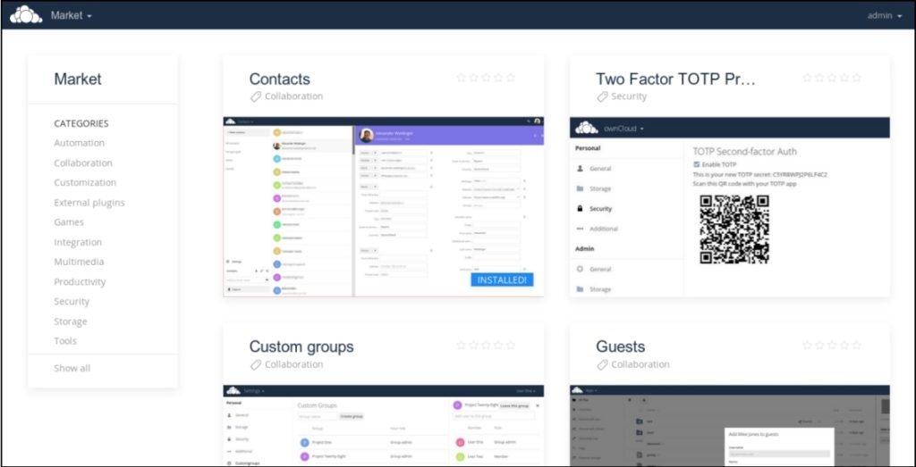 marketplace des apps pour Owncloud