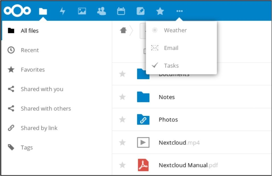 Menu des applications Nextcloud