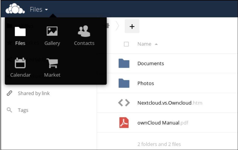 Menu des applications ownCloud