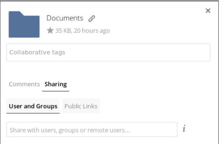 Menu de partage ownCloud