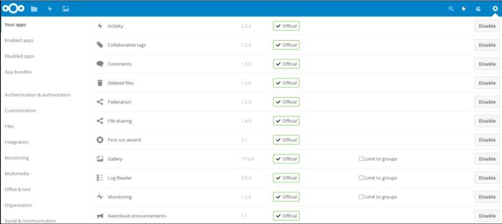 Page des applications Nextcloud