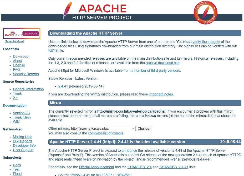 Téléchargez la licence publique Apache HTTP Server