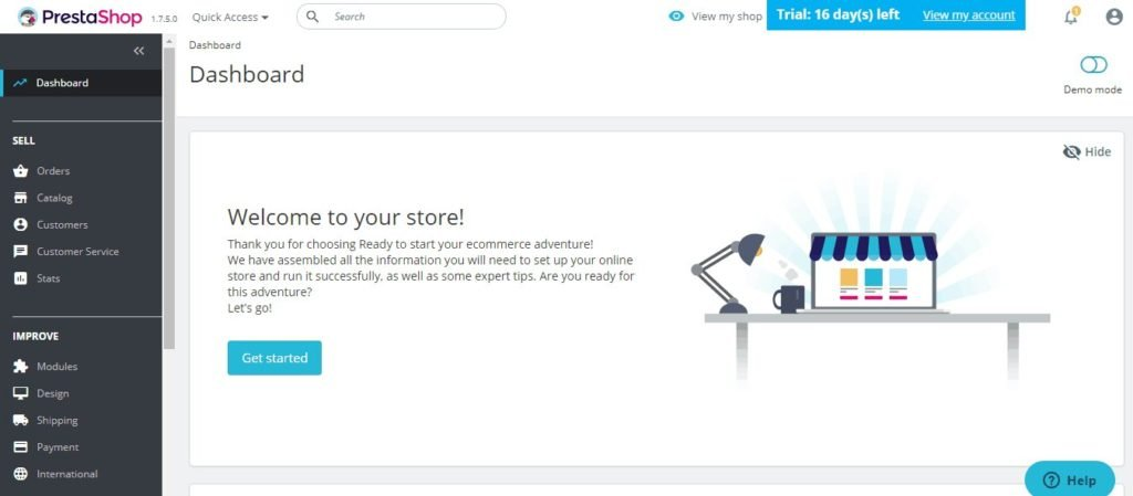Interface PrestaShop