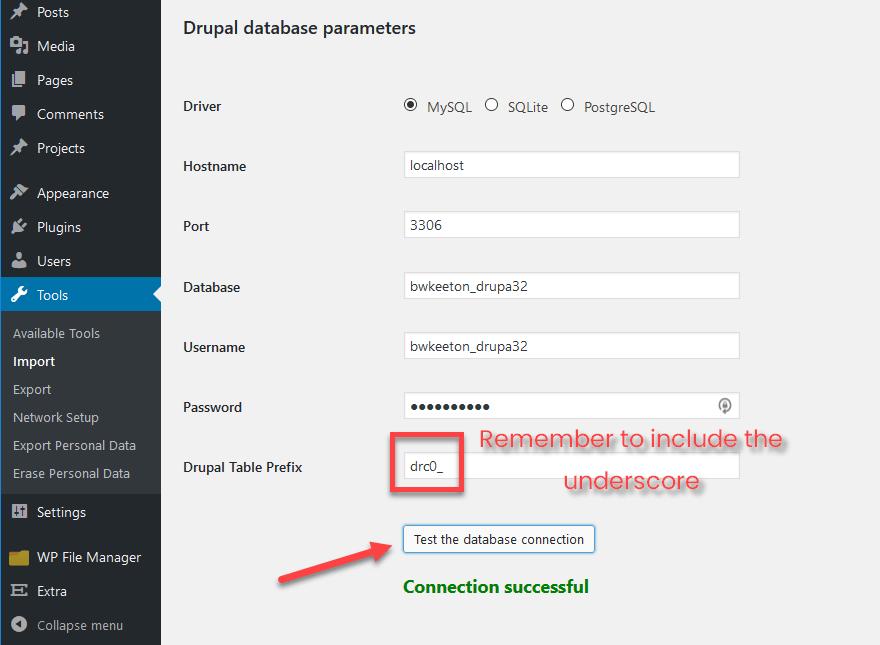 sous-dossier dans Préfixe de table Drupal