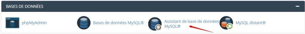 Cliquer sur l'assistant de création de base de données