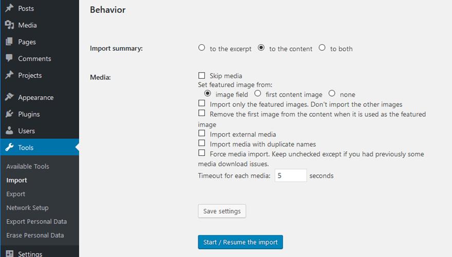 Configurer le Comportement de la migration de Drupal vers WordPress