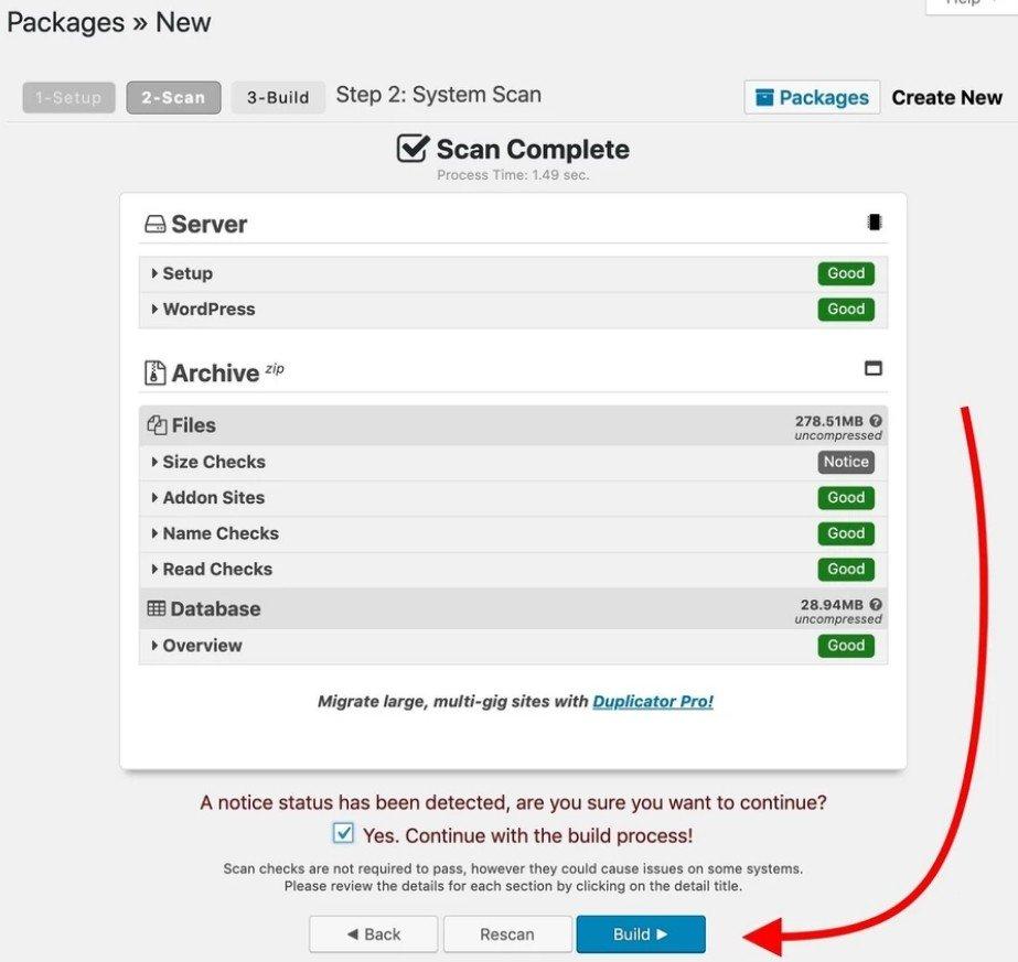 Scanner votre site WordPres et  cliquer sur Générer