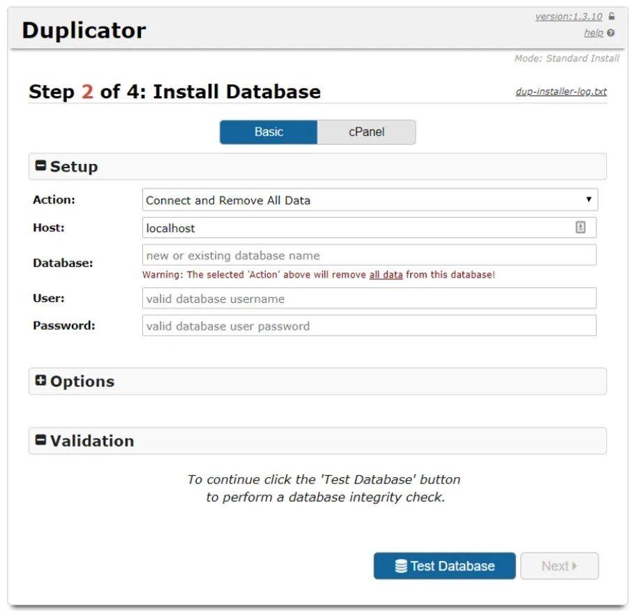 Duplicator Étape 2
