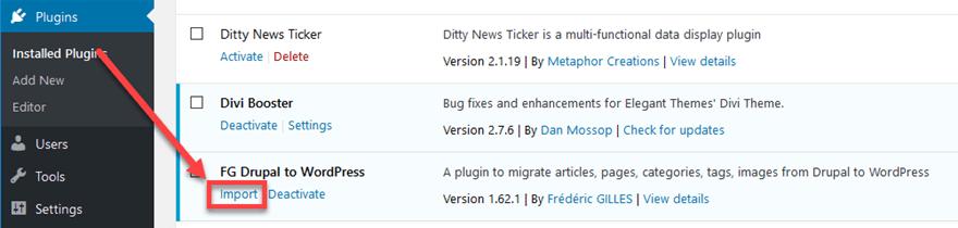 Importer le plugin FG Drupal to WordPress
