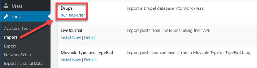 Lancer l'importation de Drupal vers WordPress