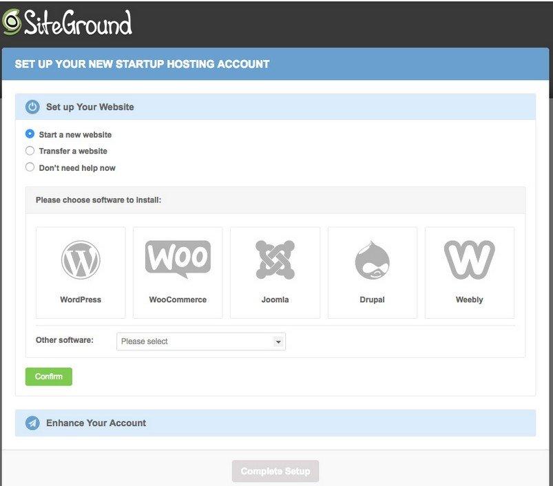 sélectionnez simplement l'otpion Transférer un site Web et cliquez sur Confirmer.
