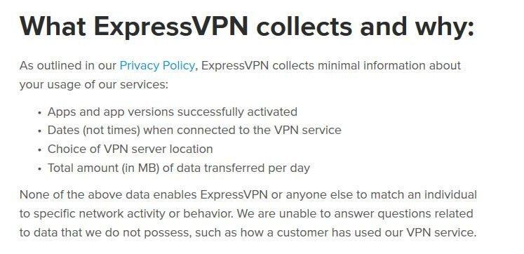 Ce que ExpressVPN collecte et pourquoi