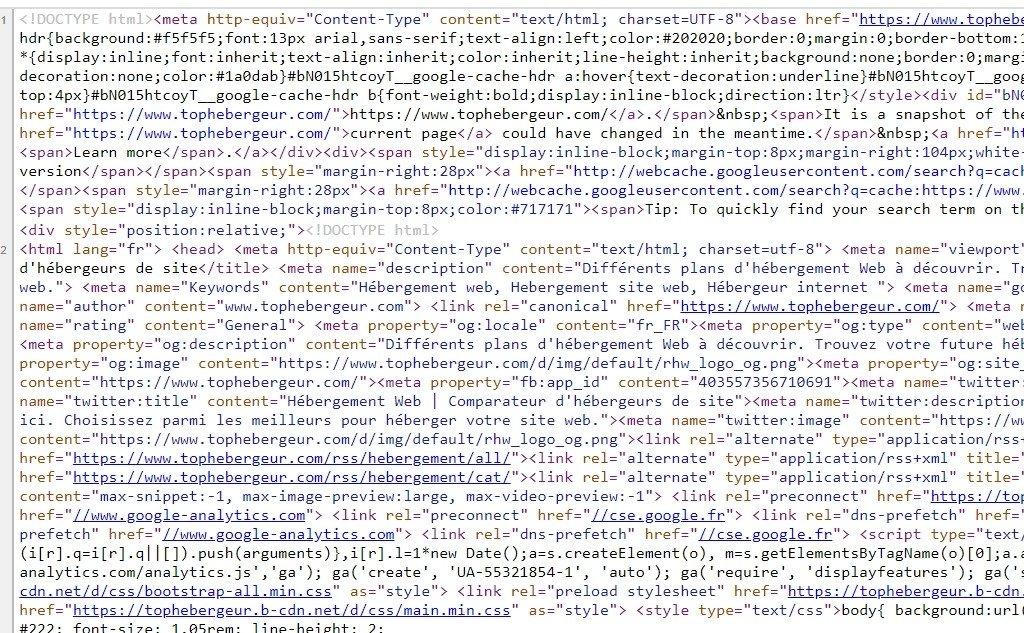 Code source de la page