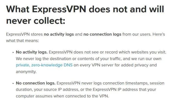 Ce que ExpressVPN ne collectera jamais