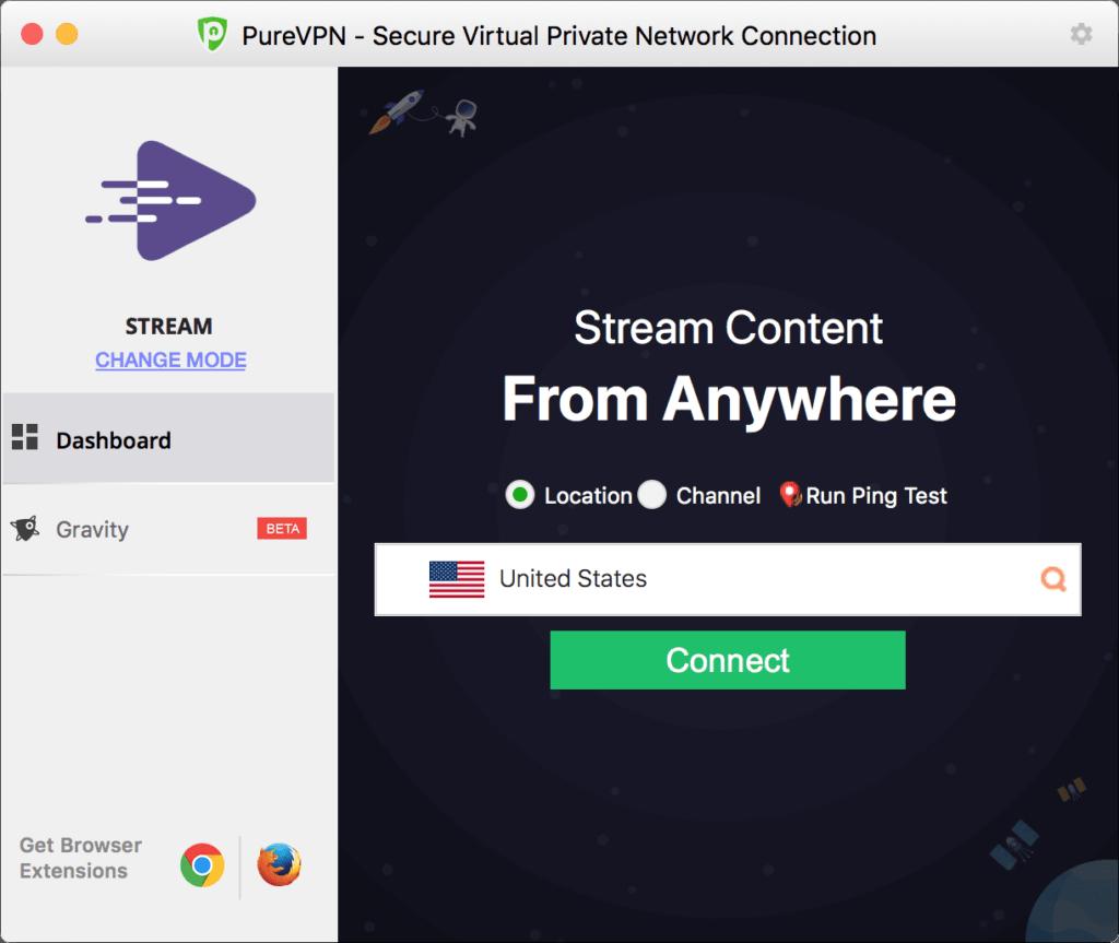 L'application de PureVPN pour Mac.