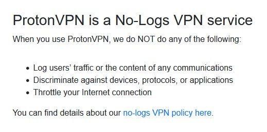 Politique de confidentialité sur le site Web de ProtonVPN