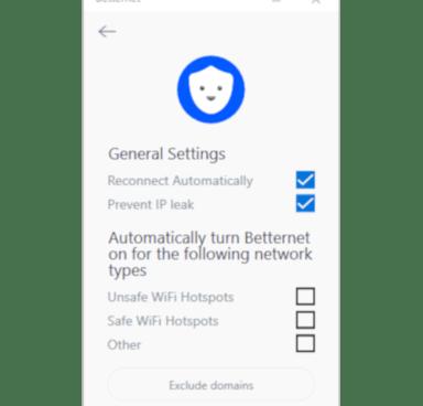 Capture d'écran du menu des paramètres de Betternet
