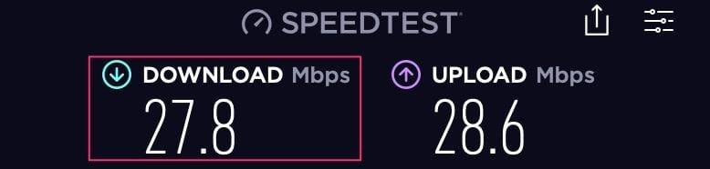 rétention de vitesse de 57,20 % avec Cyberghost