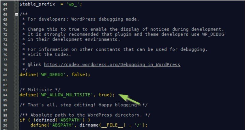 Activer la fonction multi-site dans wp-config.php