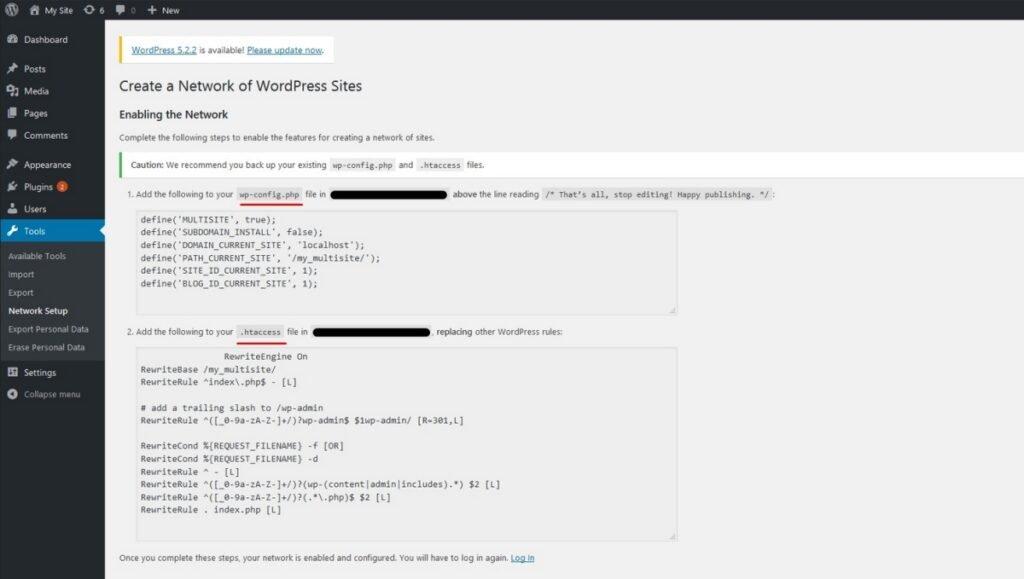 Finalisation de la configuration de l'installation WordPress multi-site