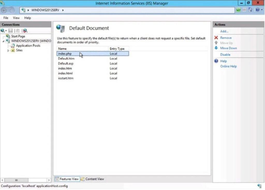 Modification fichier PHP par défaut sous Windows