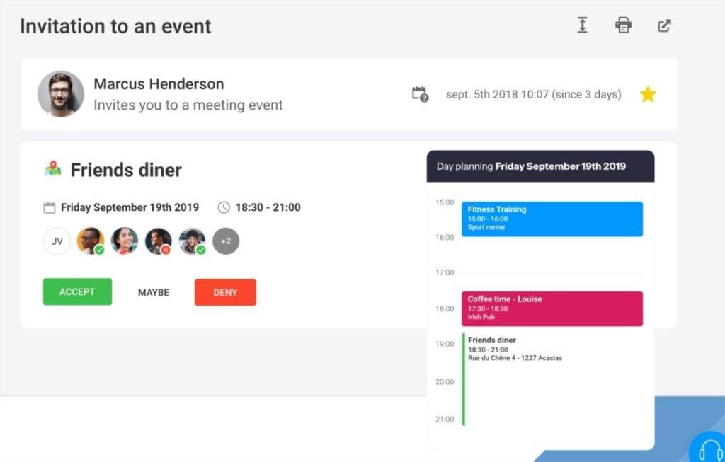 Un agenda intégré avec votre adresse email